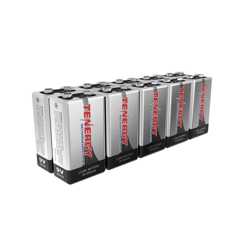 Combo: 10pcs Tenergy 9V 600mAh Li-ion Rechargeable Batteries