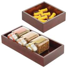 mDesign Bamboo Kitchen Cabinet Drawer Organizer Stackable Tray Bin - Eco-Friendly, Multipurpose - Use in Drawers, on Countertops, Shelves or in Pantry - Set of 2 - Espresso Brown Wood Finish