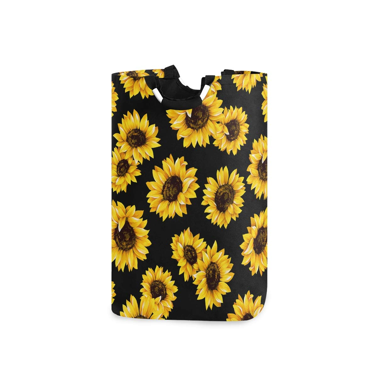 DOMIKING Laundry Storage Basket Beautiful Sunflowers in Black Background Laundry Hamper Collapsible Organizer for Kids Room Dirty Cloth Toy Dorm Bag with Handle