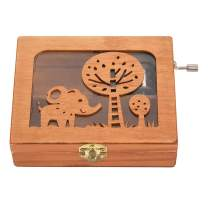 Walfront Music Box,Mini Wooden Hand-cranked Music Box, Exquisite Jewelry Box Hollow Forest Animal Mechanical Wooden Crafts Case Kids Toys Music Box Gift(Elephant)