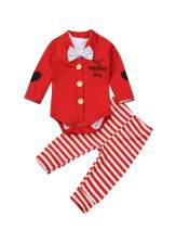 My First Valentine's Day Newborn Baby Boy Adorable Bow Tie Onesie+Red Cardigan+Stripe Pants Valentine's Day 3pcs Outfits Set