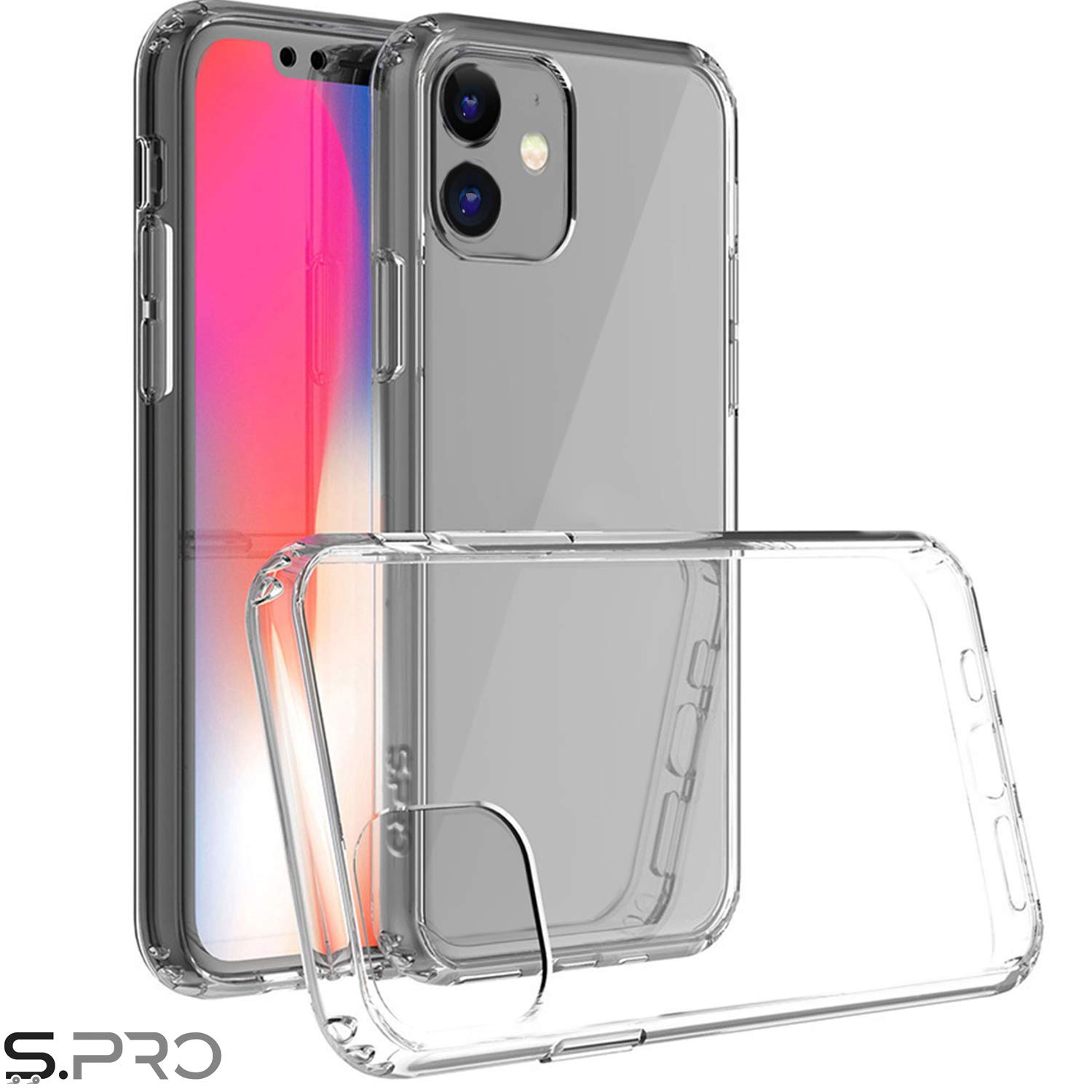 S.PRO for iPhone 11 Clear Case Ultra Thin Transparent Shockproof Protective Hard PC Shield+Soft TPU Cover for iPhone 11 6.1 Inch