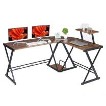 """GreenForest L Shaped Desk with Moveable Shelf, 58"""" x 44"""" Corner Computer Gaming Desk PC Table Workstation for Home Office, Walnut"""