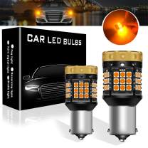 Teguangmei Turn Signal Light Bulbs, No Hyper Flash 1850Lumen 45SMD BA15S P21W Front Rear Turn Signal Bulb Canbus Error Free Led Turn Signal Lights Amber Yellow Pack of 2