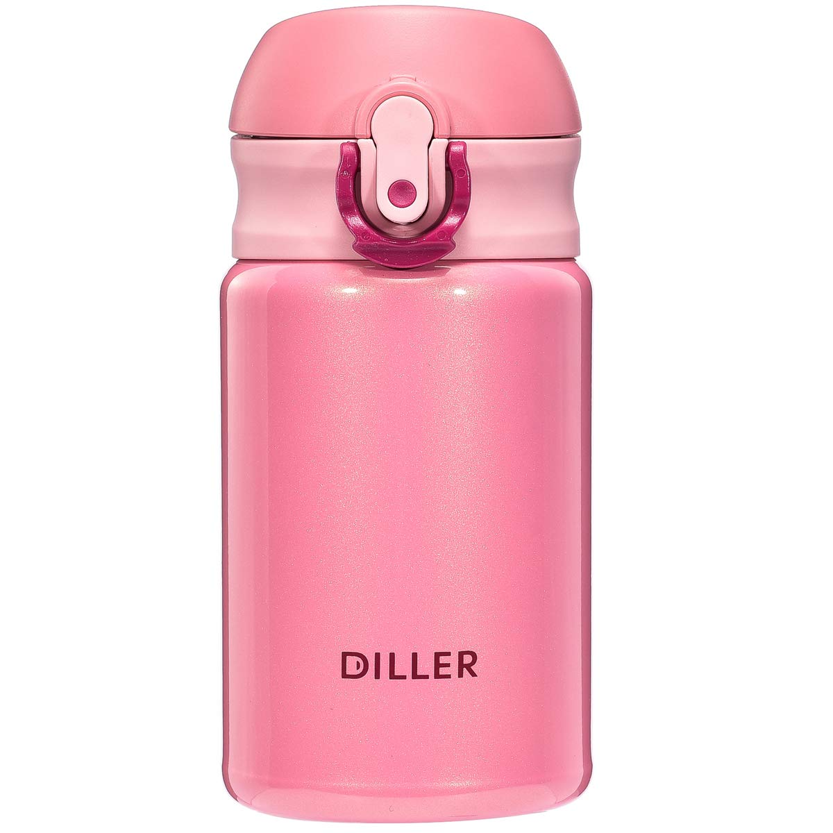 Diller Thermos Water Bottle - 10 Oz Mini Insulated Stainless Steel Bottle, Leakproof Cute Vacuum Flask, Perfect for Purse or Kids Lunch Bag, 12 Hours Hot & 24 Hours Cold (Pink, 10 oz)
