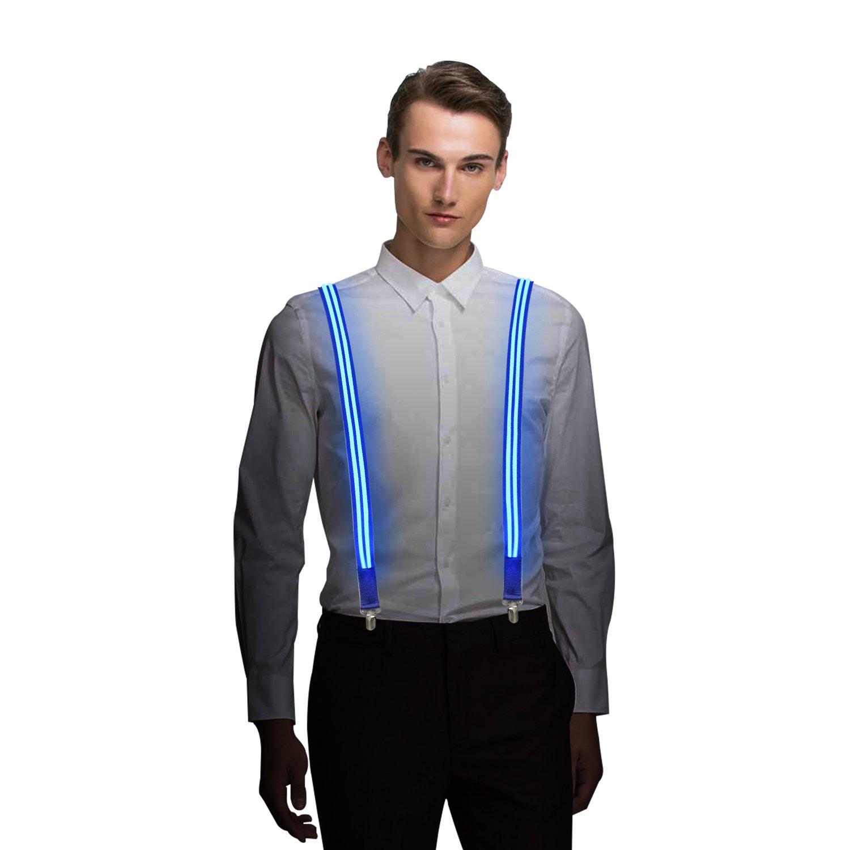 MORLIGHT Light Up LED Suspender Double Stripe One-size for Party Concert Men&Women