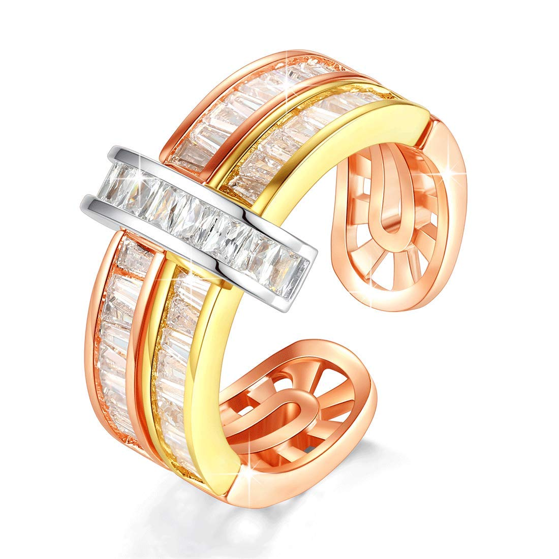 VICISION 2019 2 Color Statement Band Ring Gold Plated 5A Cubic Zirconia for Women Fine Fashion Jewelry Accessories