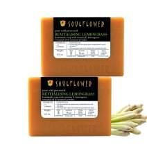 Lemongrass Handmade Soap by Soulflower, (5.3Oz x 2 bars) Balance Skin Oil and Strengthen Skin, Best Natural Toner, Natural, Vegan & Cold processed, USFDA approved, SLS Free, Indian Formulation