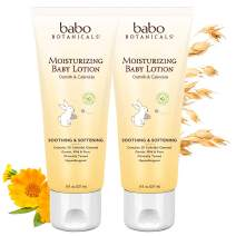 Babo Botanicals Moisturizing Baby Lotion with Oatmilk and Calendula, Non-Greasy, Hypoallergenic - 2-Pack 8 oz.