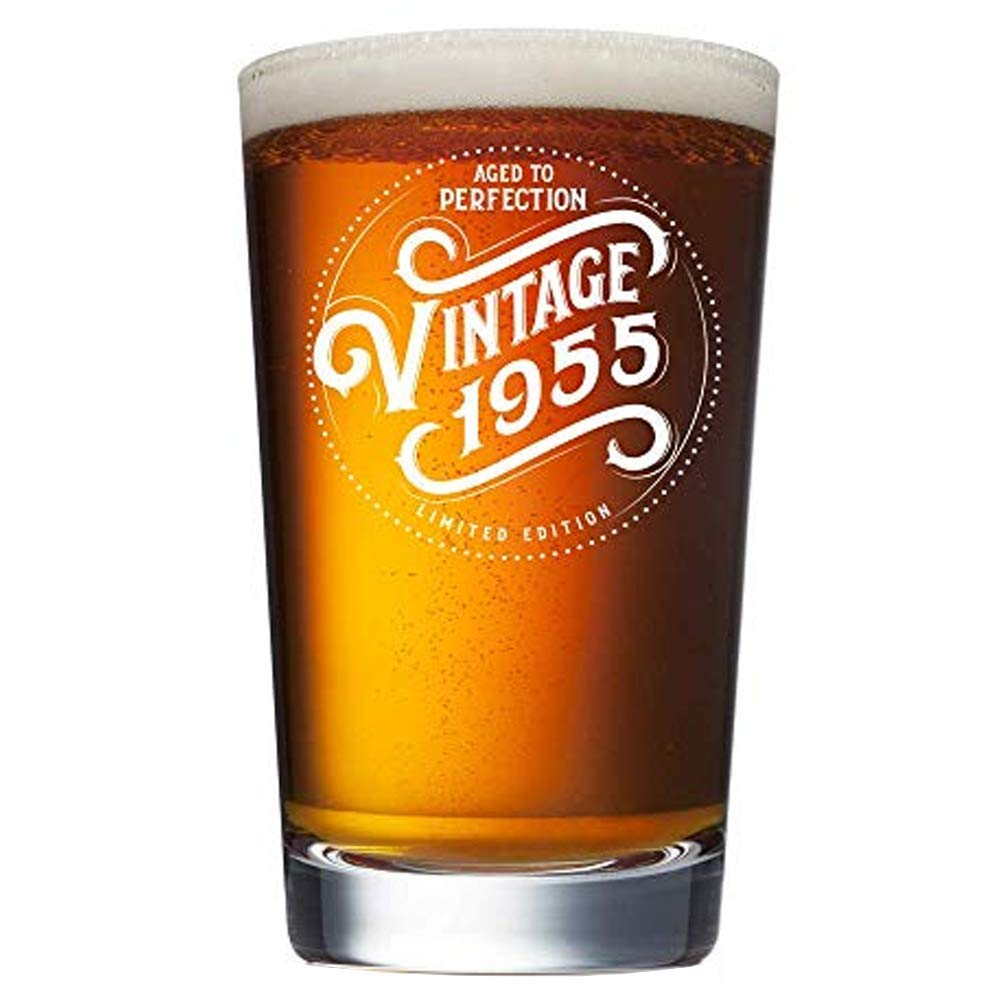 1955 65th Birthday Gifts for Men and Women Beer Glass - 16 oz Funny Vintage 65 Year Old Pint Glasses for Party Decorations - Anniversary Gift Ideas for Dad, Mom, Husband, Wife - Best Craft Beers Mug
