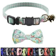 XPangle Bowtie Cat Collars Breakaway with Bell, Adjustable Cute Kitty Collars Safety Buckle Kitten Collar for Cat Puppy 7.5-11in