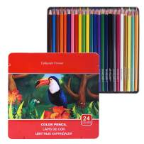 Colored Pencils Set, Color Pencils with Soft Core for Adult Coloring Books Artist Drawing Sketching Crafting Shading,Vibrant Colors with Metal Box (24 Colors)
