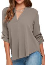 OMZIN Women's Chiffon Blouses Solid Loose Shirt Casual Pullover Tops