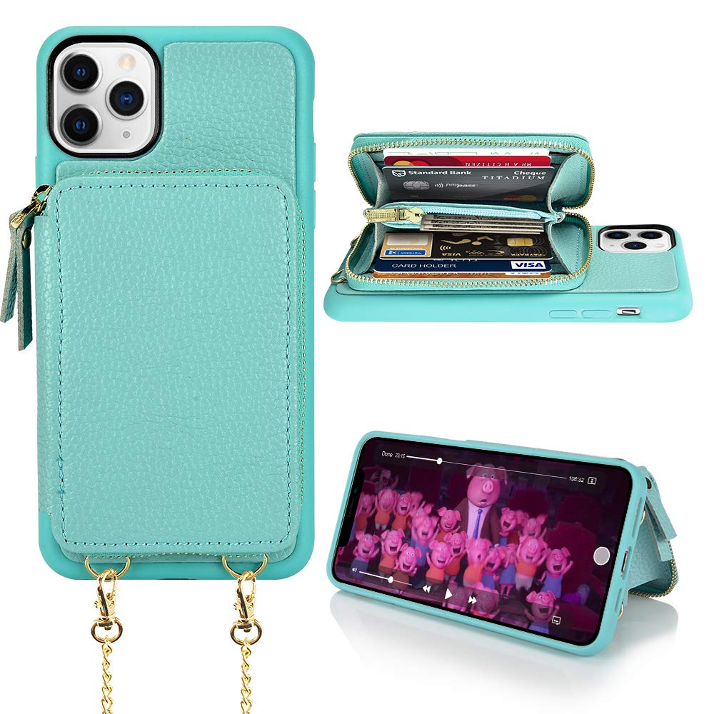 iPhone 11 Pro Max Wallet Case, iPhone 11 Pro Max Case with Card Holder, LAMEEKU Zipper Leather Case with Card Slot Crossbody Chain, Shockproof Protective Cover for iPhone 11 Pro Max 6.5''-Tiffany Blue