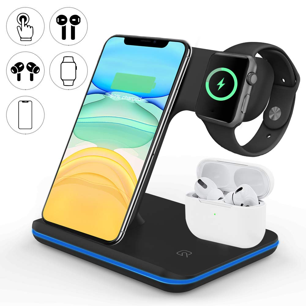 Vcloo Wireless Charger, 3 in 1 Wireless Charging Station Compatible with AirPods Pro/2, iWatch Series 5/4/3/2, Qi Fast Wireless Charger Stand for iPhone 11 Pro Max/X/XS/XR/8Plus, Black