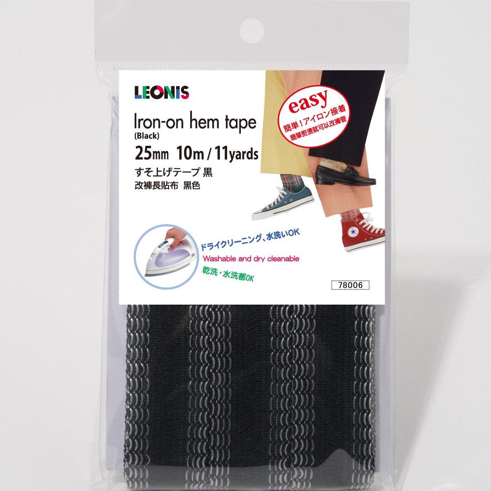 LEONIS Polyester Iron-On Hem Clothing Tape 1inch x 11yd (25mm x 10m) Black [ 78006 ]