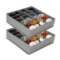 Socks Drawer Organizer Divider, 2 Packs 24 Cells Collapsible Socks Organizer Closet Cabinet Organizer Underwear Storage Boxes for Storing Socks, Lingerie, Underwear (Gray) (Grey, A)