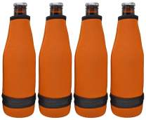 TahoeBay 12 Beer Bottle Sleeves - Easy-On Bottom Zipper - Extra Thick Neoprene Blank Drink Cooler (Texas Orange, 12)