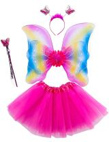Lujuny Fairy Wing Costume Set - Butterfly Wings Tutu Dress Magic Wand and Headband