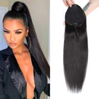 Straight Ponytail Extension Drawstring Hair Pieces Clip on Ponytails Remy Human Hair for Black Women #1B Color Can be Dyed 18inch 120g (18, straight)