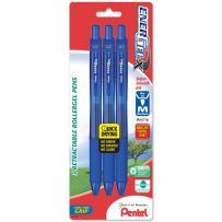 Pentel EnerGel-X Retractable Liquid Gel Pen, 0.7mm, Medium Line, Metal Tip, Blue Ink, 3 Pack (BL107BP3C)