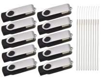 Thumb Drive 8GB Pack of 10 USB Flash Drives Kepmem Silver Pendrive Metal Zip Drives Swivel USB 2.0 Memory Stick Portable Man Gift