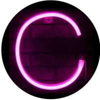 Elnsivo Light Up Pink Neon Marquee Letters LED Alphabet Neon Letter Lights Battery Powered Name Signs Pink Words for Home,Bar,Christmas,Birthday,Party,Wedding Decor-Pink Letters(Neon Letter C)