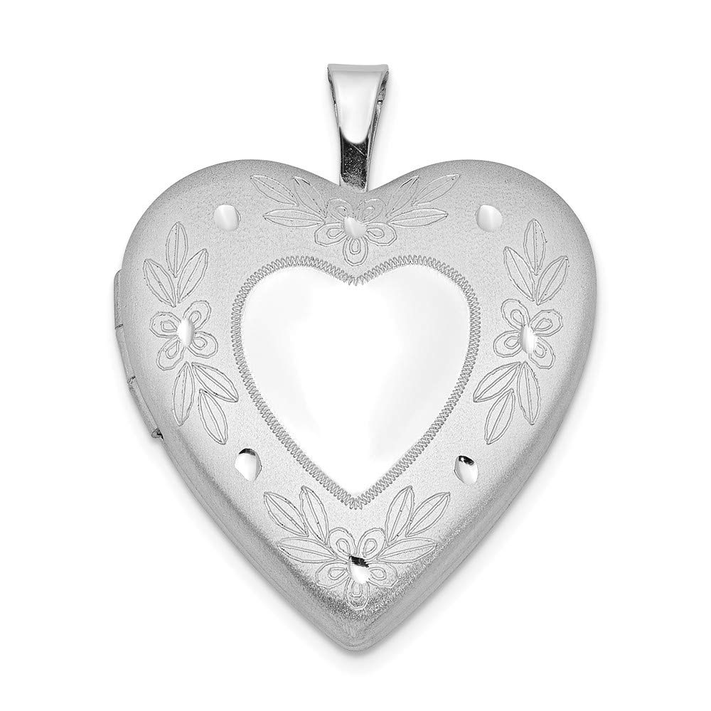 925 Sterling Silver 20mm Floral Border Heart Photo Pendant Charm Locket Chain Necklace That Holds Pictures Fine Jewelry For Women Gifts For Her