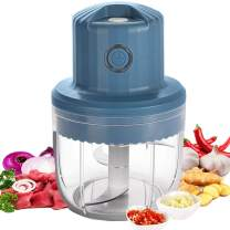 NAMTHEUN Electric Mini Garlic Chopper, Wireless Portable Food Chopper And vegetable chopper with Three Blade Powerful Chop Garlic/Fruits/Vegetables/Onions/Meat/Pepper/Ginger/Salad/-250ML(BLUE)
