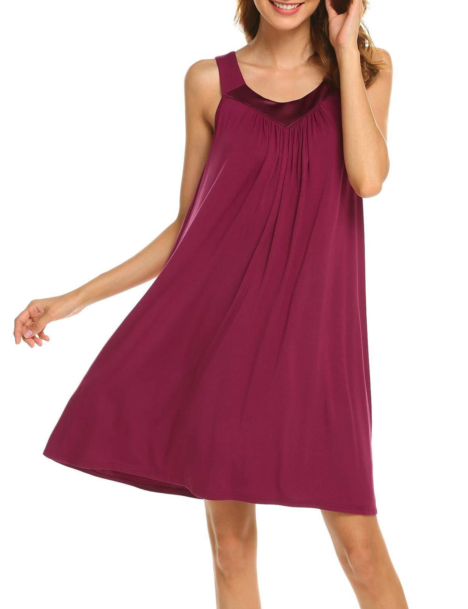 Bloggerlove Cotton Nightgowns for Women V Neck Sleepwear Night Shirts Sleeveless Sleep Dress S-XXL