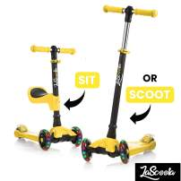 Lascoota 2-in-1 Kick Scooter with Removable Seat Great for Kids & Toddlers Girls or Boys – Adjustable Height w/Extra-Wide Deck PU Flashing Wheels for Children from 2-14 Years Old