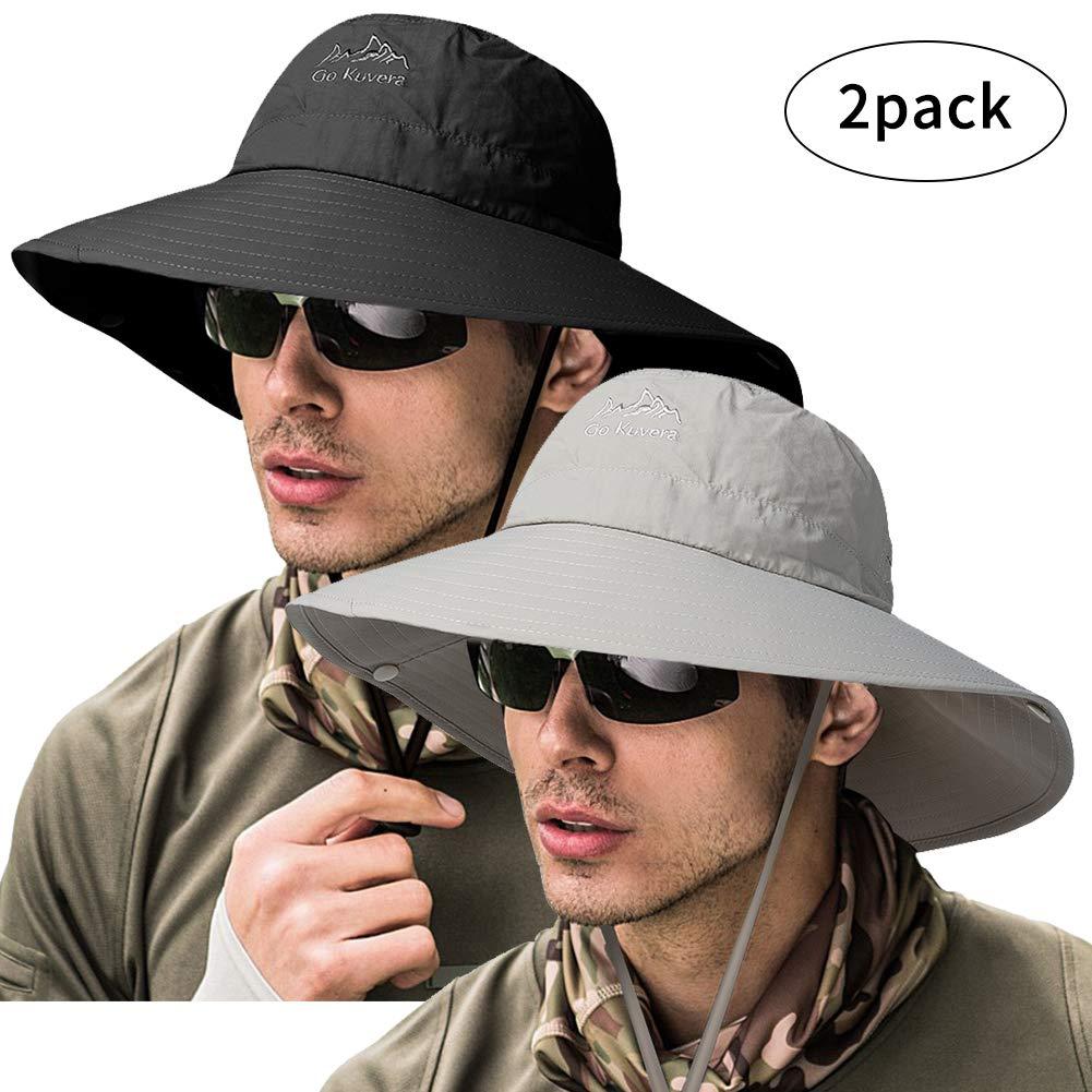 ZOORON Fishing Bucket Hat for Men, Wide Brim UV Protection Sun Hat Waterproof Breathable Boonie Hat