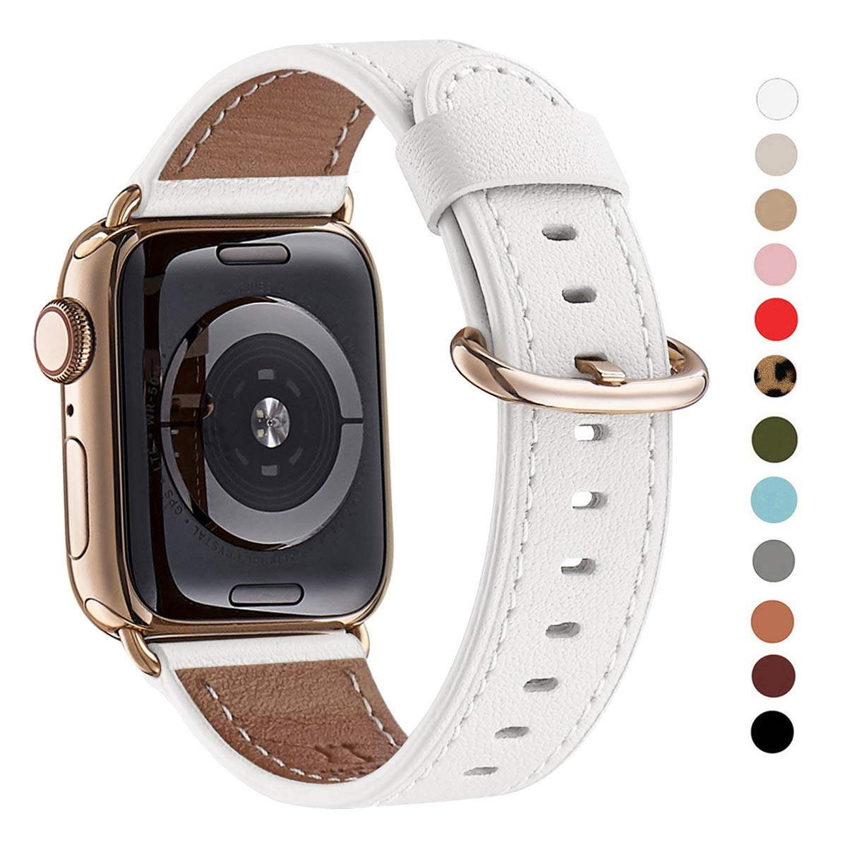 WFEAGL Compatible iWatch Band 44mm 42mm, Top Grain Leather Band with Gold Adapter (the Same as Series 5/4 with Gold Stainless Steel Case in Color)for iWatch Series 5 /4/3/2/1 (White Band+Gold Adapter)