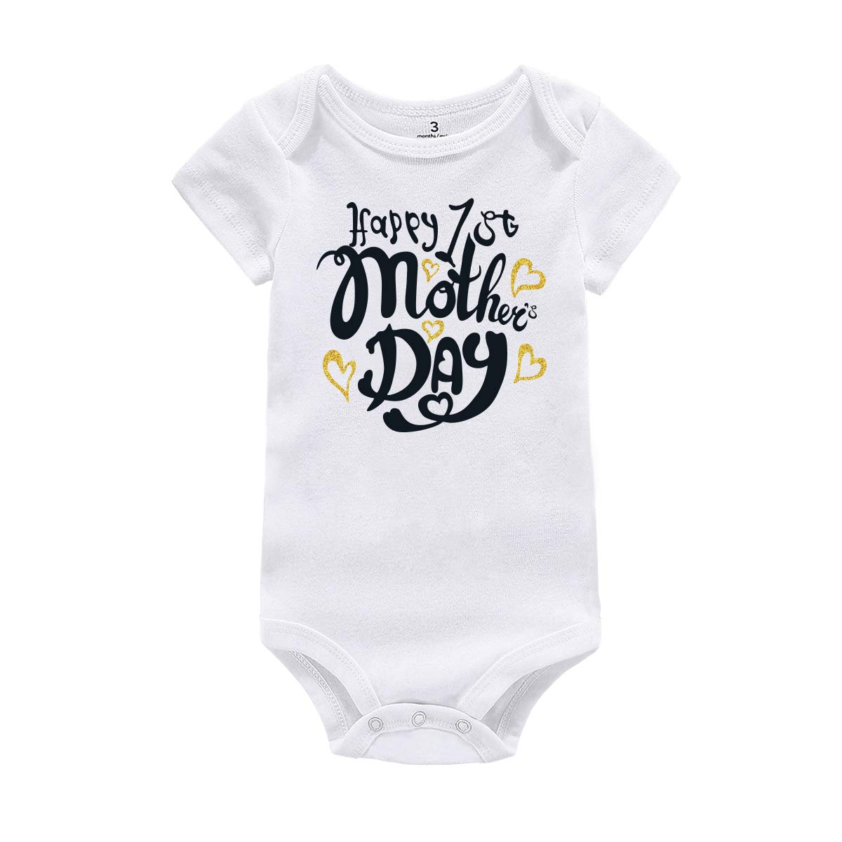 WINZIK Happy 1st Mother's Day Baby Romper Bodysuit Outfit Newborn Infant Boy Girl One-Piece Jumpsuit Shirt