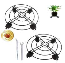Plant Caddy with Wheels Metal Rolling Plant Dolly Patio Flower Pot Rack on Rollers Indoor Outdoor 2 pack 12 inches