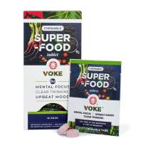 Voke Energy | Jitter-Free, All-Day Packs for Energy, Mental Focus, Upbeat Mood and Clear Thinking | 30 Chewable Superfood Tablets with Vitamin C Antioxidants | 15 Day Supply