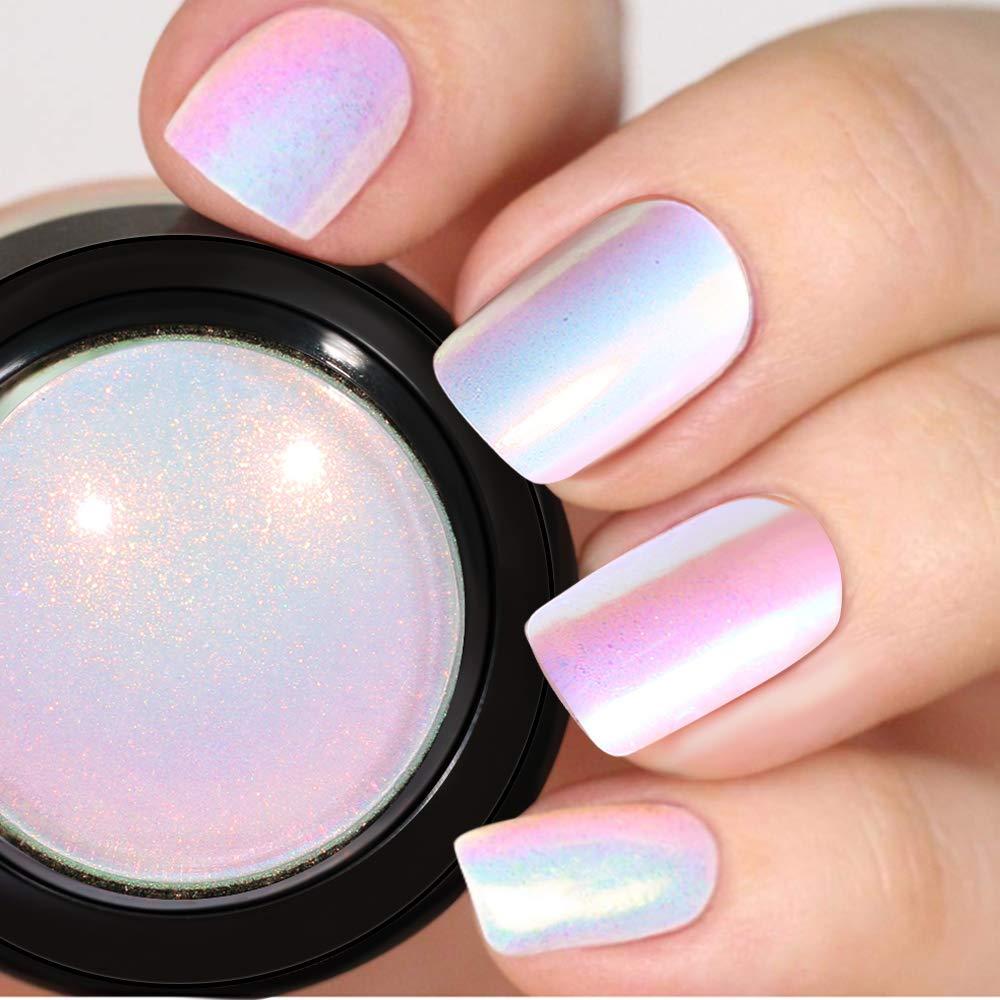 PrettyDiva Unicorn Nail Powder - Indigo Mermaid Nail Powder Aurora Nail Pigment, Neon Iridescent Chrome Nail Powder for Nail Art