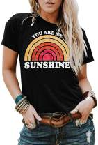 Imysty Womens You are My Sunshine T Shirts Graphic Tees Short Sleeve Letter Printed Casual Summer Tops