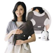 Konny Baby Carrier Summer | Ultra-Lightweight, Hassle-Free Baby Wrap Sling | Newborns, Infants to 44 lbs Toddlers | Cool and Breathable Fabric | Sensible Sleep Solution (Mocha, L)