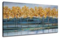 """Ardemy Canvas Wall Art Gold Ginkgo Tree Nature Painting Prints, Modern Blue Landscape Mountain Scenery Picture Large Size One Panel 48""""x24"""" Gallery and Framed for Living Room Bedroom Home Office Decor"""