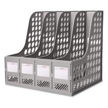 Lemical Large Space Magazine File Holder Organiser File Rack with 4 Vertical Compartments Desktop File Documents Folders Storage Text Paper Notebook File Container Dividers File Box Office Supplies