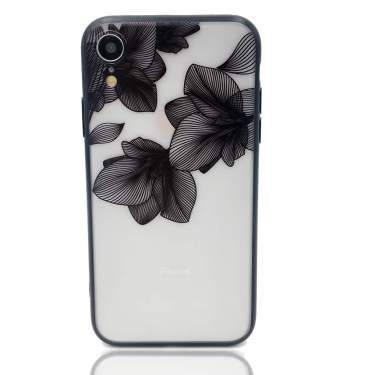 Huiycuu Case Compatible With Iphone Xr Case Floral Pattern Hard Back Case For Girl Women Shockproof Soft Bumper Lace Design Matte Cover Slim Fit Black Tropical Leaves