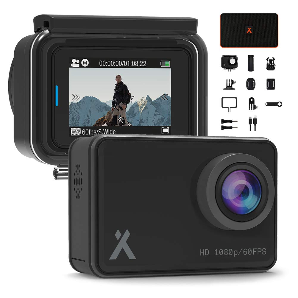 """Bear Grylls WiFi Action Camera 14MP Full HD 1080P (BG-AC-1) with 2"""" Touch-Screen Display IP68 Waterproof 30m Underwater 160° Wide-Angle Sports Camera with Full Accessory & Mount Kit."""