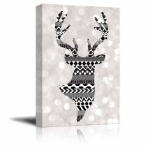 wall26 - Rich Black Deer Silhouette with zentagle Patterns on a Silver Colored Bokeh Background - Canvas Art Home Decor - 12x18 inches