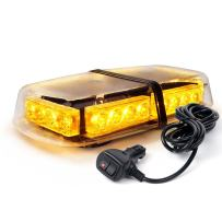 Xprite Yellow(Amber) 24 LED Roof Top Mini Bar, Truck Car Vehicle Law Enforcement Emergency Hazard Beacon Caution Warning Snow Plow Safety Flashing Strobe Light with Magnetic
