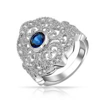 Bling Jewelry Boho Vintage Style Blue CZ Filigree Wide Fashion Statement Heart Armor Full Finger Ring for Women Silver Plated Brass