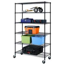 Heavy Duty 6 Tier Wire Shelving Unit Adjustable Storage Rack on Wheels Durable Metal Shelves Space Saving Wire Shelf Multifunctional Garage Shelving Units for Commercial Kitchen Storage Black