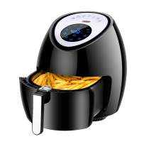 Euhomy 5.8 Qt 1800W Electric Air Fryer XL,Oil Free Air Frying Technology with Touch Screen Control & cookbook, Black Air Cooker