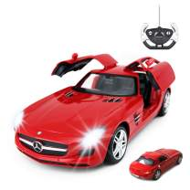 RASTAR RC Car | 1/14 Scale RC Mercedes-Benz SLS AMG Remote Control Car for Kids, Benz Model Car with Open Doors/Working Lights - Red