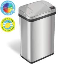 iTouchless 4 Gallon Sensor Trash Can with Odor Filter and Fragrance, Touchless Automatic Stainless Steel Waste Bin, Perfect for Office and Bathroom…